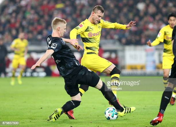 Timo Baumgartl of Stuttgart and Andrej Yarmolenko of Dortmund battle for the ball during the Bundesliga match between VfB Stuttgart and Borussia...