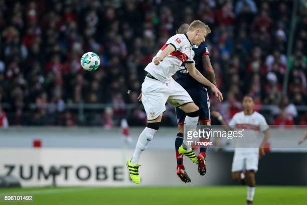 Timo Baumgartl of Stuttgart and Arturo Erasmo Vidal of Bayern Muenchen battle for the ball during the Bundesliga match between VfB Stuttgart and FC...