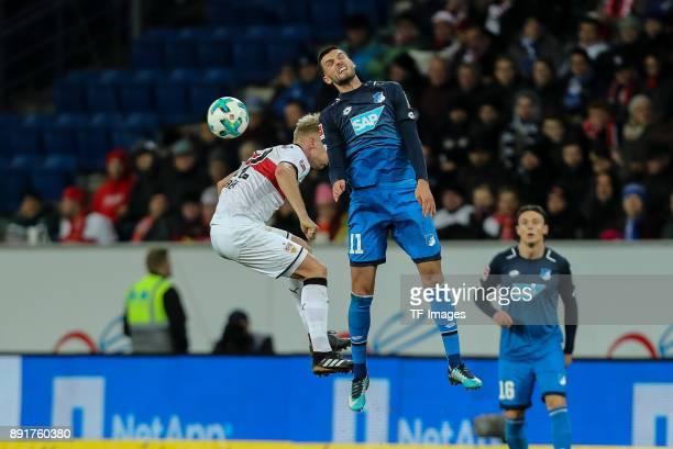 Timo Baumgartl of Stuttgart and Florian Grillitsch of Hoffenheim battle for the ball during the Bundesliga match between TSG 1899 Hoffenheim and VfB...