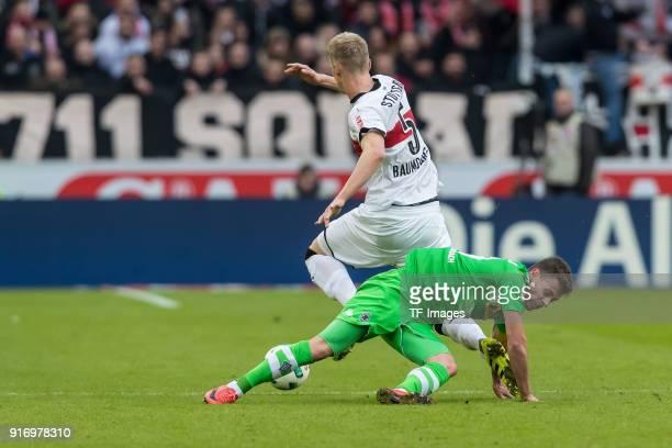 Timo Baumgartl of Stuttgart and Thorgan Hazard of Moenchengladbach battle for the ball during the Bundesliga match between VfB Stuttgart and Borussia...
