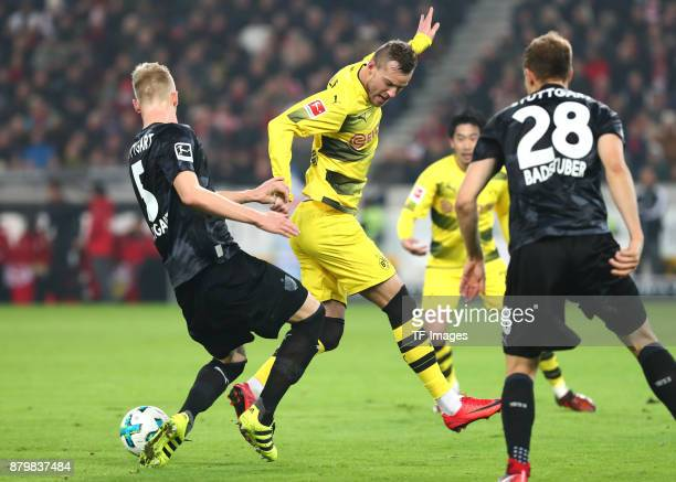 Timo Baumgartl of Stuttgart Andrej Yarmolenko of Dortmund and Holger Badstuber of Stuttgart battle for the ball during the Bundesliga match between...