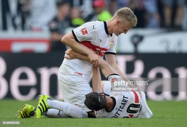 Timo Baumgartl of Stuttgart celebrates with Christian Gentner of Stuttgart after the Bundesliga match between VfB Stuttgart and SV Werder Bremen at...