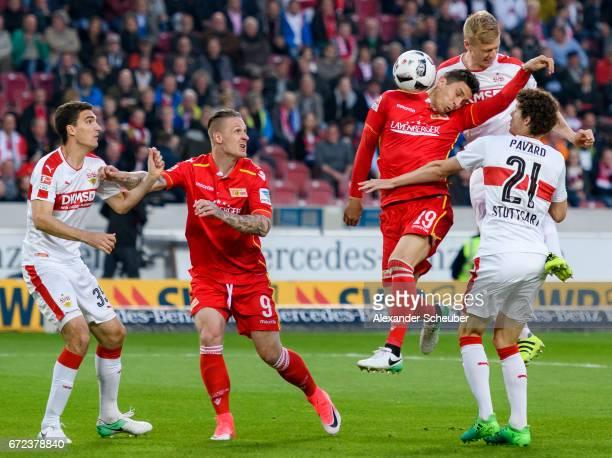 Timo Baumgartl of Stuttgart challenges Damir Kreilach of Berlin during the Second Bundesliga match between VfB Stuttgart and 1 FC Union Berlin at...