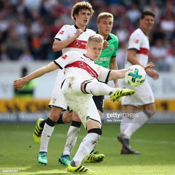Timo Baumgartl of Stuttgart clears the ball during the Bundesliga match between VfB Stuttgart and Hannover 96 at MercedesBenz Arena on April 14 2018...