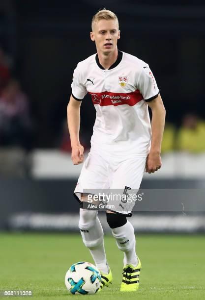 Timo Baumgartl of Stuttgart controls the ball during the Bundesliga match between VfB Stuttgart and SportClub Freiburg at MercedesBenz Arena on...