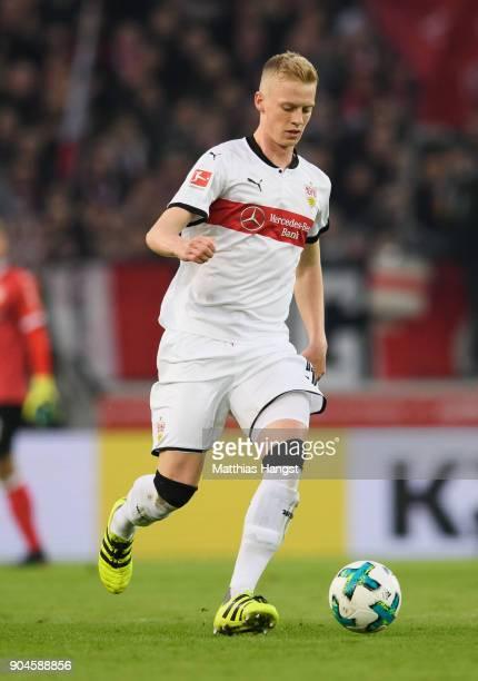 Timo Baumgartl of Stuttgart controls the ball during the Bundesliga match between VfB Stuttgart and Hertha BSC at MercedesBenz Arena on January 13...