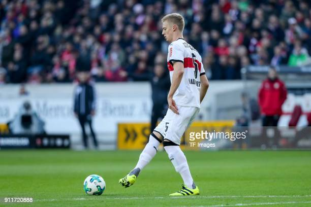 Timo Baumgartl of Stuttgart controls the ball during the Bundesliga match between VfB Stuttgart and FC Schalke 04 at MercedesBenz Arena on January 27...