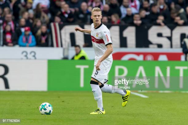 Timo Baumgartl of Stuttgart controls the ball during the Bundesliga match between VfB Stuttgart and Borussia Moenchengladbach at MercedesBenz Arena...