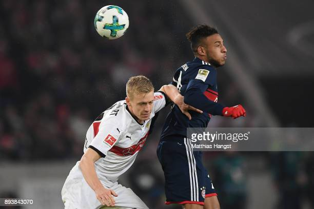 Timo Baumgartl of Stuttgart fights for the ball with Tolisso of Bayern Muenchen during the Bundesliga match between VfB Stuttgart and FC Bayern...