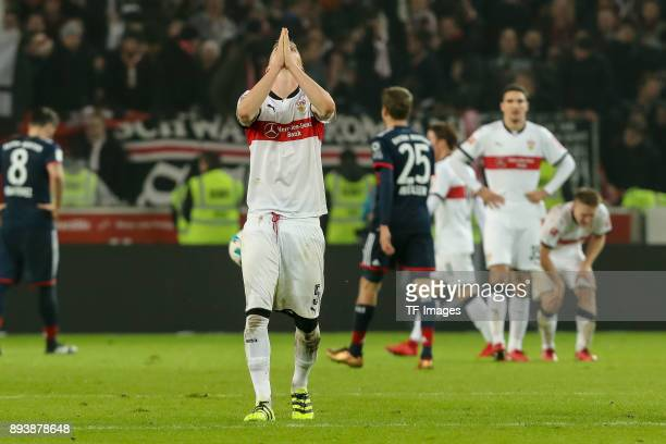 Timo Baumgartl of Stuttgart gestures during the Bundesliga match between VfB Stuttgart and FC Bayern Muenchen at MercedesBenz Arena on December 16...