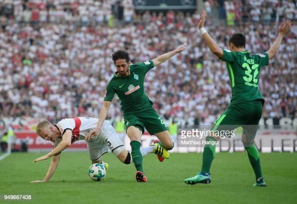 Timo Baumgartl of Stuttgart is challenged by Ishak Belfodil of Bremen during the Bundesliga match between VfB Stuttgart and SV Werder Bremen at...