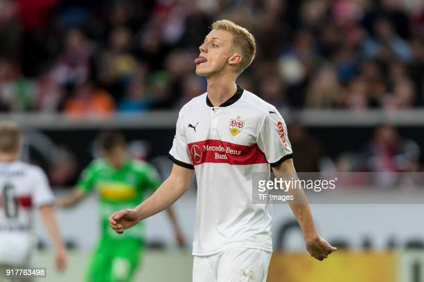 Timo Baumgartl of Stuttgart looks on during the Bundesliga match between VfB Stuttgart and Borussia Moenchengladbach at MercedesBenz Arena on...