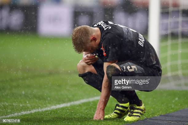Timo Baumgartl of Stuttgart reacts during the Bundesliga match between 1 FSV Mainz 05 and VfB Stuttgart at Opel Arena on January 20 2018 in Mainz...