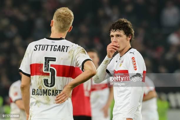 Timo Baumgartl of Stuttgart speaks with Benjamin Pavard of Stuttgart during the Bundesliga match between VfB Stuttgart and FC Schalke 04 at...