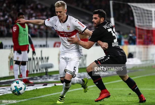 Timo Baumgartl of VfB Stuttgart and Kevin Volland of Bayer Leverkusen battle for the ball during the Bundesliga match between VfB Stuttgart and Bayer...