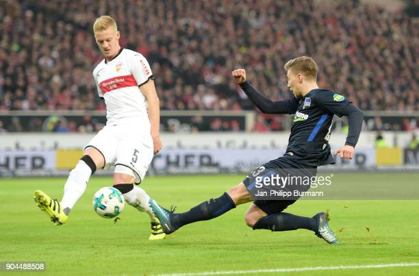 Timo Baumgartl of Vfb Stuttgart and Mitchell Weiser of Hertha BSC during the game between VfB Stuttgart and Hertha BSC on January 13 2018 in...