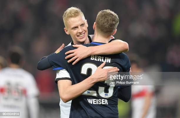 Timo Baumgartl of Vfb Stuttgart and Mitchell Weiser of Hertha BSC after the game between VfB Stuttgart and Hertha BSC on January 13 2018 in Stuttgart...