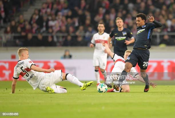 Timo Baumgartl of Vfb Stuttgart and Valentino Lazaro of Hertha BSC during the game between VfB Stuttgart and Hertha BSC on January 13 2018 in...