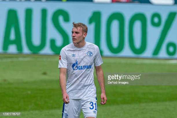 Timo Becker of FC Schalke 04 Looks on during the Bundesliga match between TSG Hoffenheim and FC Schalke 04 at PreZero-Arena on May 8, 2021 in...