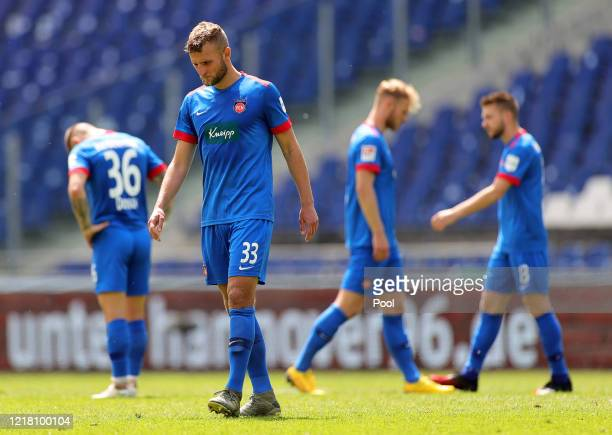 Timo Beermann of 1. FC Heidenheim 1846 reacts during the Second Bundesliga match between Hannover 96 and 1. FC Heidenheim 1846 at HDI-Arena on June...