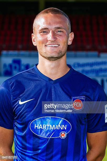 Timo Beermann poses during the 1FC Heidenheim team presentation at VoithArena on July 5 2016 in Heidenheim Germany