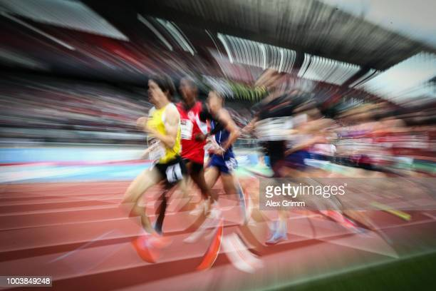 Timo Benitz of LG farbtex Nordschwarzwald leads the men's 800 meter final during day 3 of the German Athletics Championships at Max-Morlock-Stadion...
