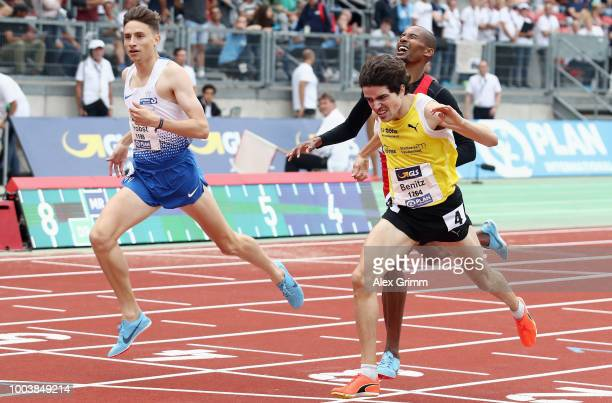 Timo Benitz of LG farbtex Nordschwarzwald wins the men's 800 meter final during day 3 of the German Athletics Championships at MaxMorlockStadion on...