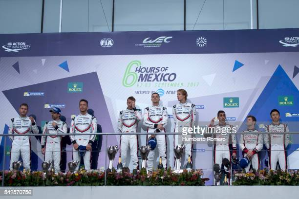 Timo Bernhard, Earl Bamber and Brendon Hartley of Team Porsche LMP , Neel Jani, Andre Lotterer and Nick Tandy of Team Porsche LMP and Sebastian...