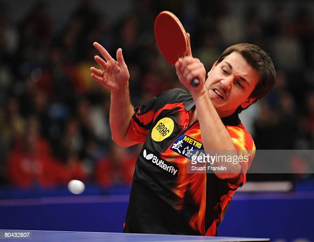 Timo Boll in action during his semi final match against Lei Yang during the German table tennis championships at the Sporthalle on March 30, 2008 in...
