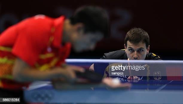 Timo Boll - Jike Zhang Olympische Sommerspiele 2012 London : Tischtennis Team Männer Halbfinale Deutschland - China ExCel Hall Olympic Summer Games...