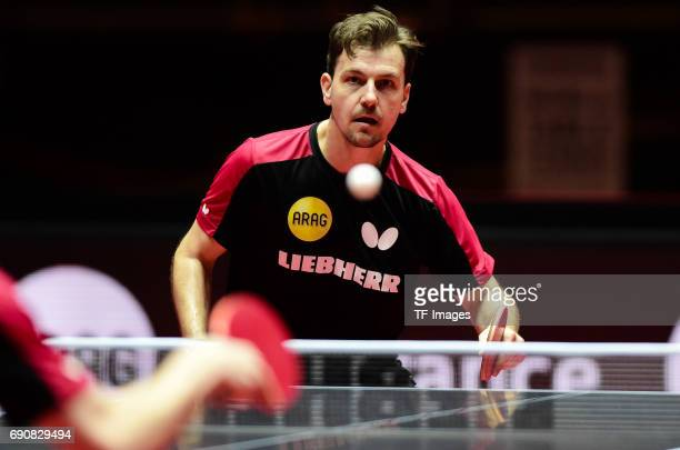 """Timo Boll """"n in action during the Table Tennis World Championship at Messe Duesseldorf on May 29, 2017 in Dusseldorf, Germany."""