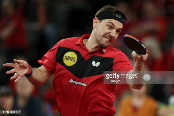 Timo Boll of Borussia Duesseldorf controls the ball during the Liebherr Table Tennis Cup Final 2020 at ratiopharm Arena on January 4 2020 in Ulm...