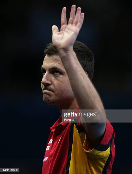 Timo Boll of Germany celebrates after his Men's Singles Table Tennis third round match against Noshad Alamiyan of Islamic Republic of Iran on Day 3...