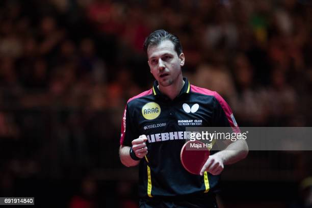 Timo Boll of Germany celebrates after winning Men's eightfinal at Table Tennis World Championship at Messe Duesseldorf on June 3 2017 in Dusseldorf...