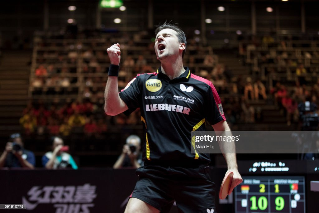 Timo Boll of Germany celebrates during Men's eight-finals at Table Tennis World Championship at Messe Duesseldorf on June 3, 2017 in Dusseldorf, Germany.