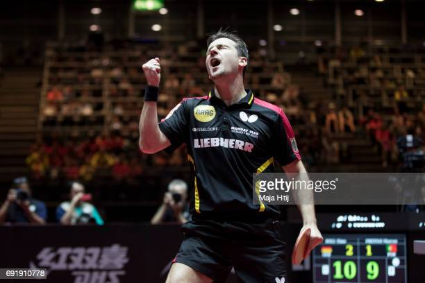 Timo Boll of Germany celebrates during Men's eightfinals at Table Tennis World Championship at Messe Duesseldorf on June 3 2017 in Dusseldorf Germany
