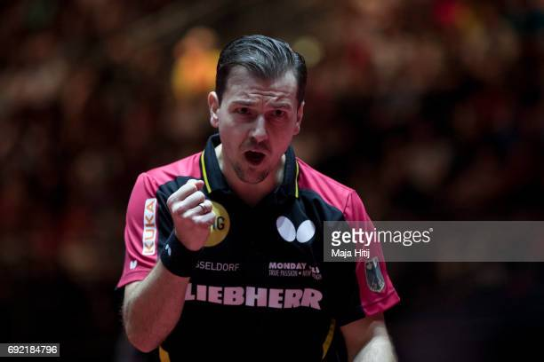Timo Boll of Germany celebrates during men's quarter final at Table Tennis World Championship at at Messe Duesseldorf on June 4 2017 in Dusseldorf...