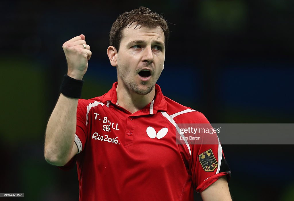 Timo Boll of Germany celebrates during the Table Tennis Men's Quarterfinal Match between Germany and Austria on August 14, 2016 in Rio de Janeiro, Brazil.