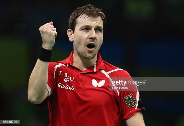 Timo Boll of Germany celebrates during the Table Tennis Men's Quarterfinal Match between Germany and Austria on August 14 2016 in Rio de Janeiro...