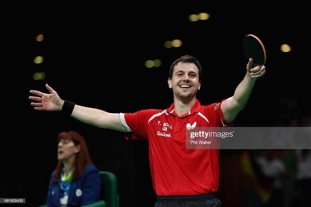 Timo Boll of Germany celebrates the Bronze Medal winning point during the Men's Team Bronze Medal match between Korea and Germany at the Rio Centro Pavilion on August 17, 2016 in Rio de Janeiro, Brazil.