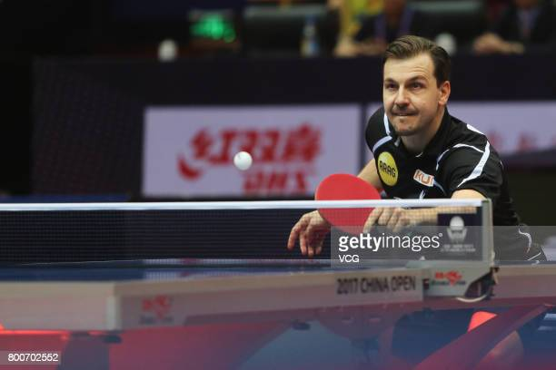 Timo Boll of Germany competes against Dimitrij Ovtcharov of Germany during the Men's singles final match of 2017 ITTF World Tour China Open at...