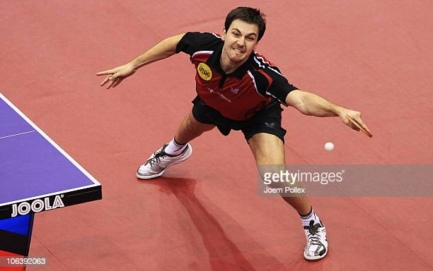 Timo Boll of Germany competes against Wang Hao of China during their Table Tennis World Cup 2010 semi final match at the Boerdeland Hall on October...