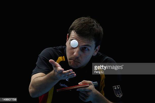 Timo Boll of Germany competes during Men's Team Table Tennis semifinal match against team of China on Day 10 of the London 2012 Olympic Games at...