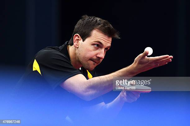Timo Boll of Germany competes in the Table Tennis Men's Team's first round match against Marc Duran of Spain during day one of the Baku 2015 European...