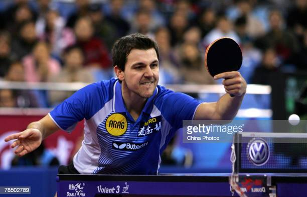 Timo Boll of Germany hits the ball against Ma Lin of China during their quarterfinal in the Good Luck Beijing 2007 Volkswagen Pro Tour Grand Finals...