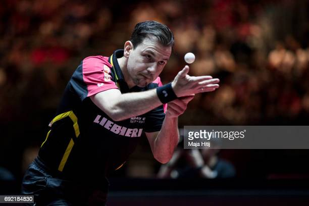 Timo Boll of Germany in action during men's quarter final at Table Tennis World Championship at at Messe Duesseldorf on June 4 2017 in Dusseldorf...