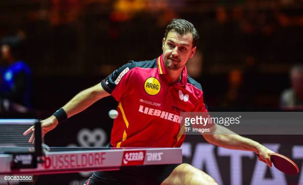 Timo Boll of Germany in action during the Table Tennis World Championship at Messe Duesseldorf on May 30, 2017 in Dusseldorf, Germany.