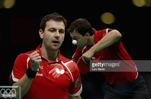 Timo Boll of Germany is seen during the Table Tennis Men's Quarterfinal Match between Germany and Austria on August 14 2016 in Rio de Janeiro Brazil