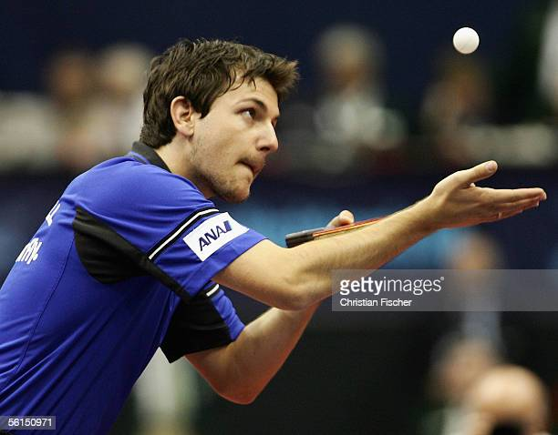 Timo Boll of Germany plays against Ma Long of China during the day three of the Liebherr German Open at the Bordeland Hall on November 13, 2005 in...