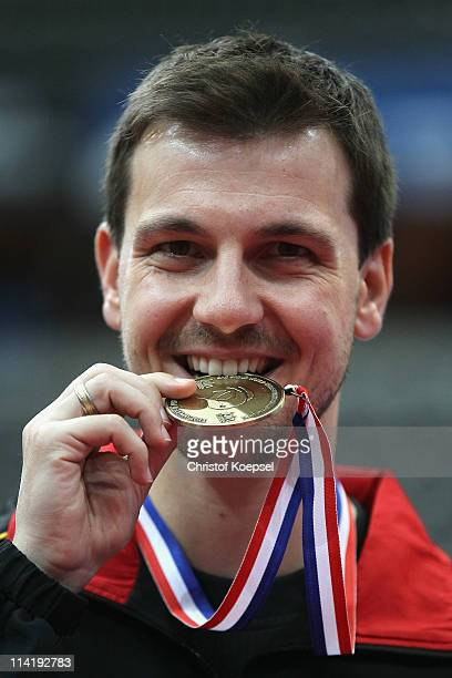 Timo Boll of Germany poses with the bronze medal of the Men's Singel on the epodium during World Table Tennis Championships at Ahoy Arena on May 15...